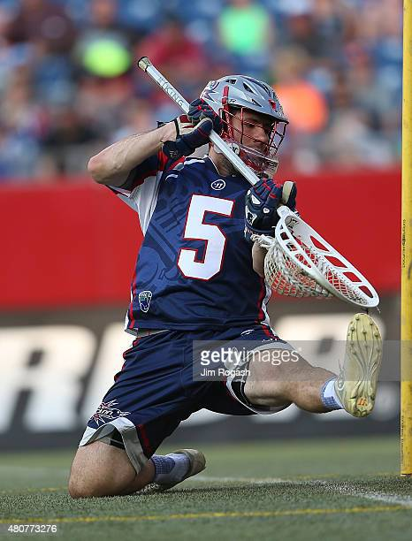 Jordan Burke of Boston Cannons defends in the first half against the Ohio Machine at Gillette Stadium on July 11 2015 in Foxboro Massachusetts
