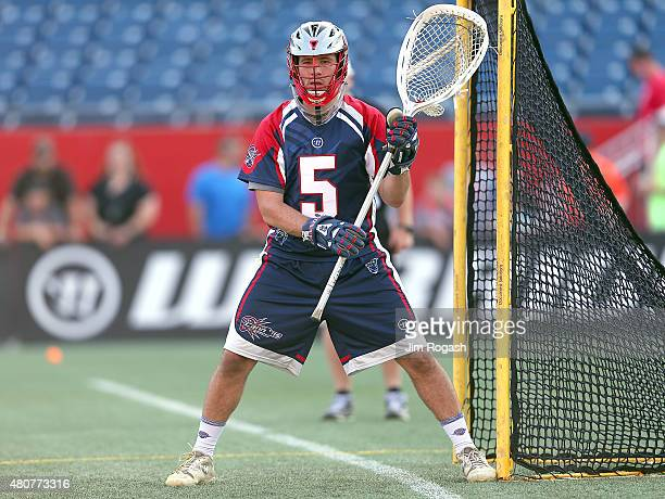 Jordan Burke of Boston Cannons defends the net in the first half against the Ohio Machine at Gillette Stadium on July 11 2015 in Foxboro Massachusetts