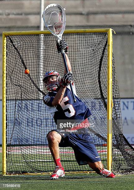 Jordan Burke of the Boston Cannons allows a goal late in the second half against the Ohio Machinat Harvard Stadium on August 3 2013 in Boston...