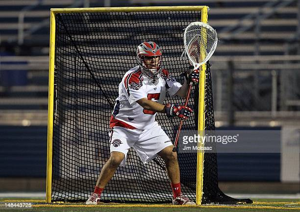 Jordan Burke of the Boston Cannons in action against the Long Island Lizards during their Major League Lacrosse game on July 14 2012 at Shuart...