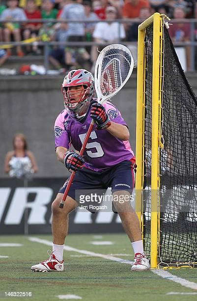 Jordan Burke of the Boston Cannons in action during the game against the Long Island Lizards at Harvard Stadium June 9 2012 in Boston Massachusetts