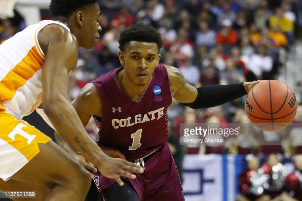 Jordan Burns of the Colgate Raiders handles the ball during the first half against the Tennessee Volunteers in the first round of the 2019 NCAA Men's...