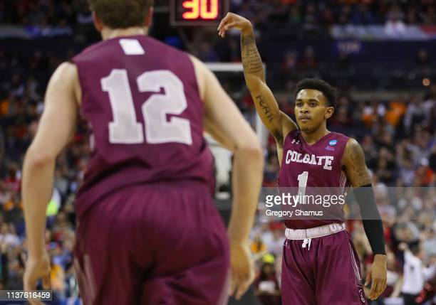Jordan Burns of the Colgate Raiders reacts during the first half against the Tennessee Volunteers in the first round of the 2019 NCAA Men's...