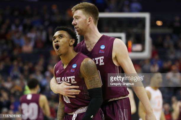 Jordan Burns reacts with Will Rayman of the Colgate Raiders during the second half against the Tennessee Volunteers in the first round of the 2019...
