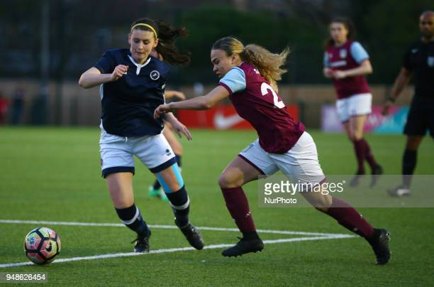 LR Jordan Butler of Millwall Lionesses LFC and Ebony Salmon of Aston Villa Ladies FC during FA Women's Super League 2 match between Millwall...
