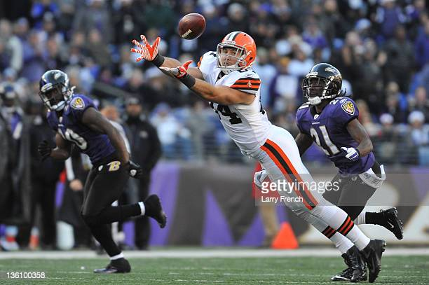 Jordan Cameron of the Cleveland Browns can't make this catch against the Baltimore Ravens at MT Bank Stadium on December 24 2011 in Baltimore...