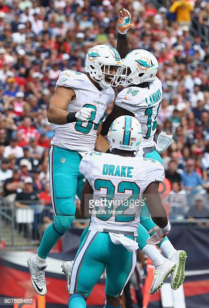 Jordan Cameron of the Miami Dolphins celebrates with Jarvis Landry after scoring a touchdown during the fourth quarter against the New England...