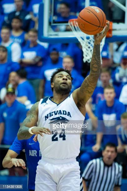 Jordan Caroline of the Nevada Wolf Pack collects a pass during the second half against the Air Force Falcons at Clune Arena on March 5 2019 in...