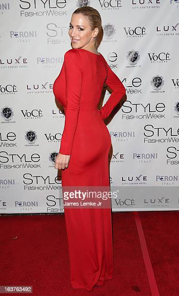 Jordan Carver attends the 2013 Los Angeles Fashion Week Go Red For Women Red Dress Fashion Show held at the Vibiana on March 14 2013 in Los Angeles...