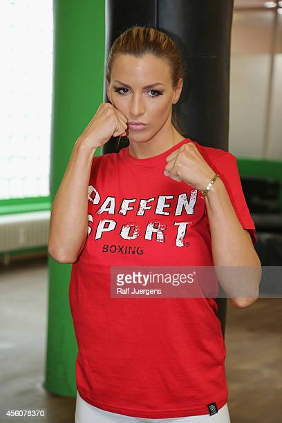 Jordan Carver poses during the weighing for the 'Das Grosse Prosieben Promiboxen' tv show on September 25 2014 in Duesseldorf Germany