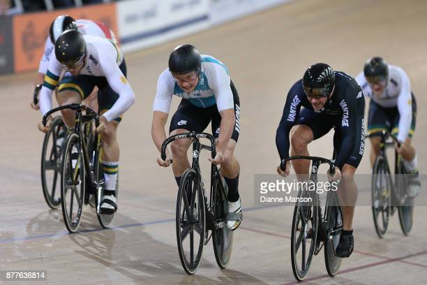 Jordan Castle of West Coast North Island finishes first in the Men's Elite Keirin final during the New Zealand Oceania Track Championships on...