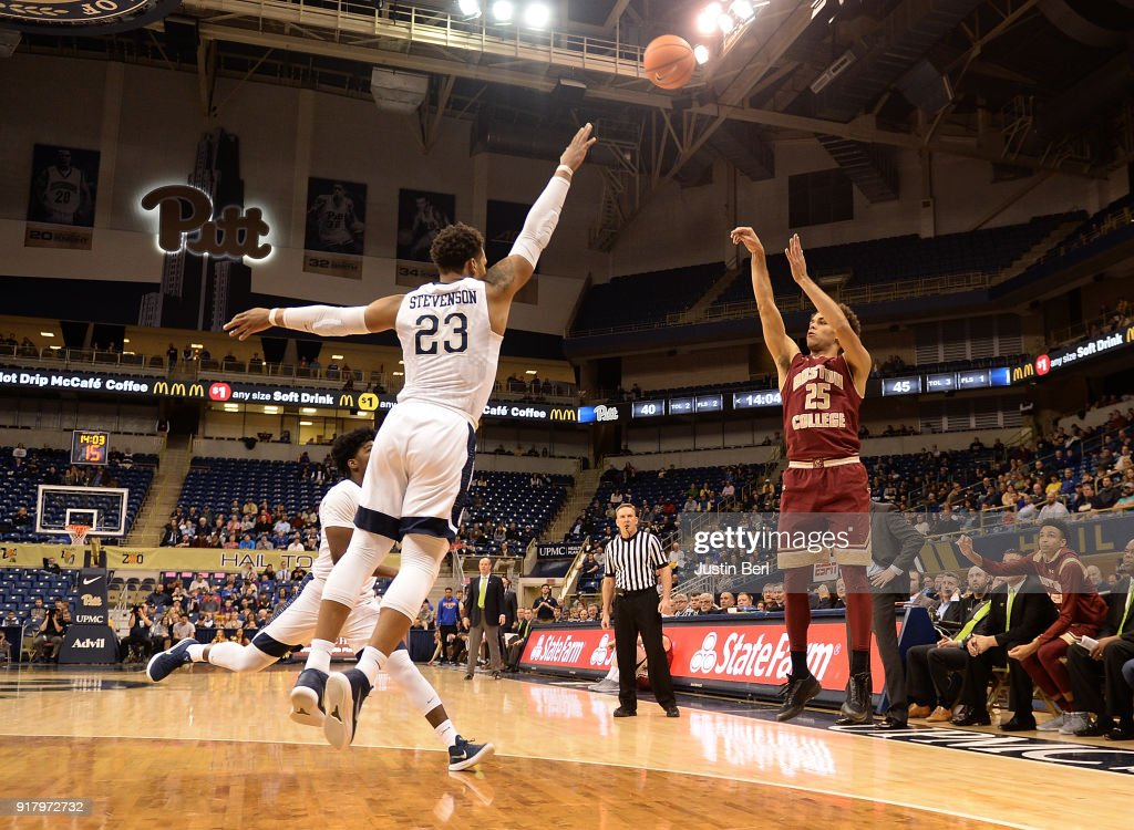 Jordan Chatman #25 of the Boston College Eagles puts up a shot over Shamiel Stevenson #23 of the Pittsburgh Panthers in the second half during the game at Petersen Events Center on February 13, 2018 in Pittsburgh, Pennsylvania.