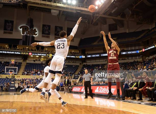 Jordan Chatman of the Boston College Eagles puts up a shot over Shamiel Stevenson of the Pittsburgh Panthers in the second half during the game at...