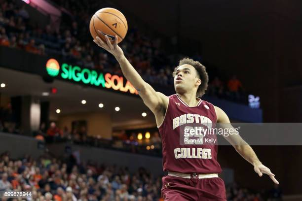 Jordan Chatman of the Boston College Eagles shoots in the first half during a game against the Virginia Cavaliers at John Paul Jones Arena on...