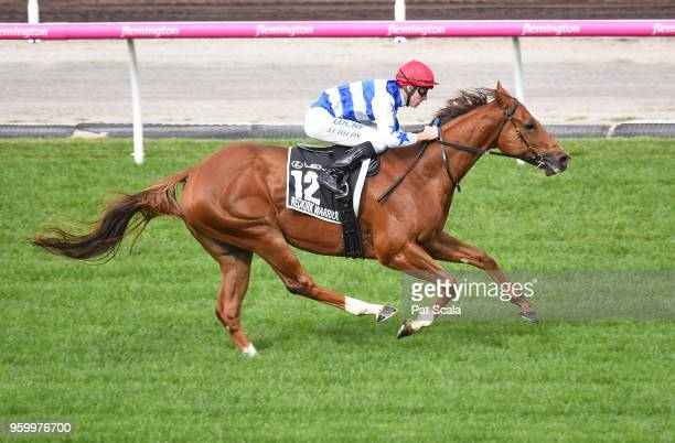 Jordan Childs rides Redkirk Warrior during a track gallop after George Watson Hall of Fame Trophy at Flemington Racecourse on May 19 2018 in...