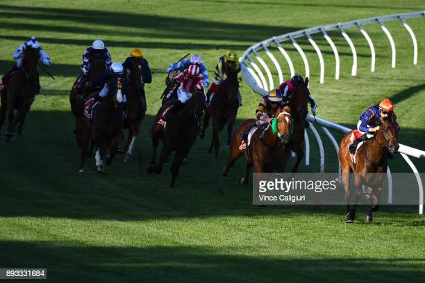 Jordan Childs riding Fille De Charlie wins Race 2 during Melbourne Racing at Moonee Valley Racecourse on December 15 2017 in Melbourne Australia