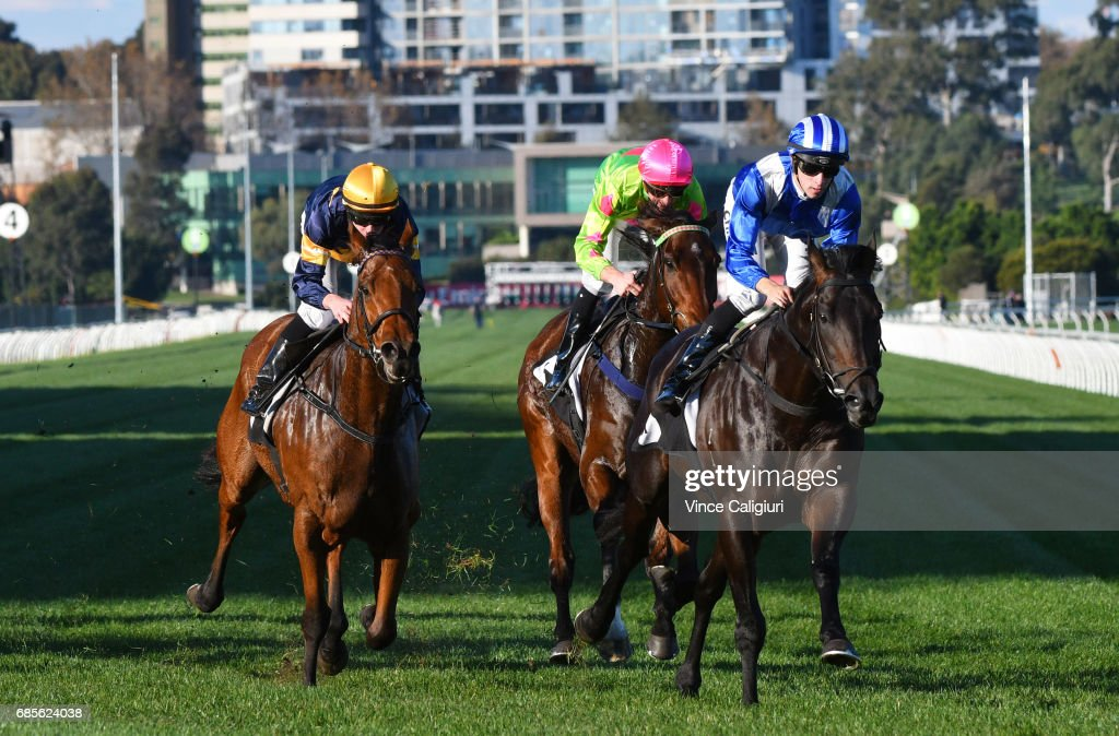 Jordan Childs riding Tashbeeh winning Race 7, Hilton Nicholas Straight Six during Melbourne Racing at Flemington Racecourse on May 20, 2017 in Melbourne, Australia.