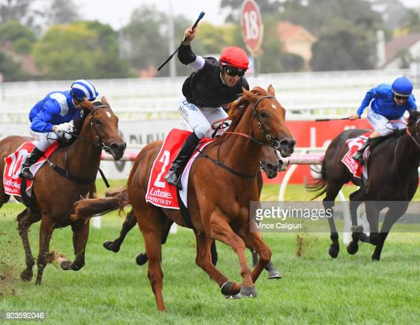 Jordan Childs riding Written By reacts after winning Race 7 Blue Diamond Stakes during Melbourne Racing at Caulfield Racecourse on February 24 2018...