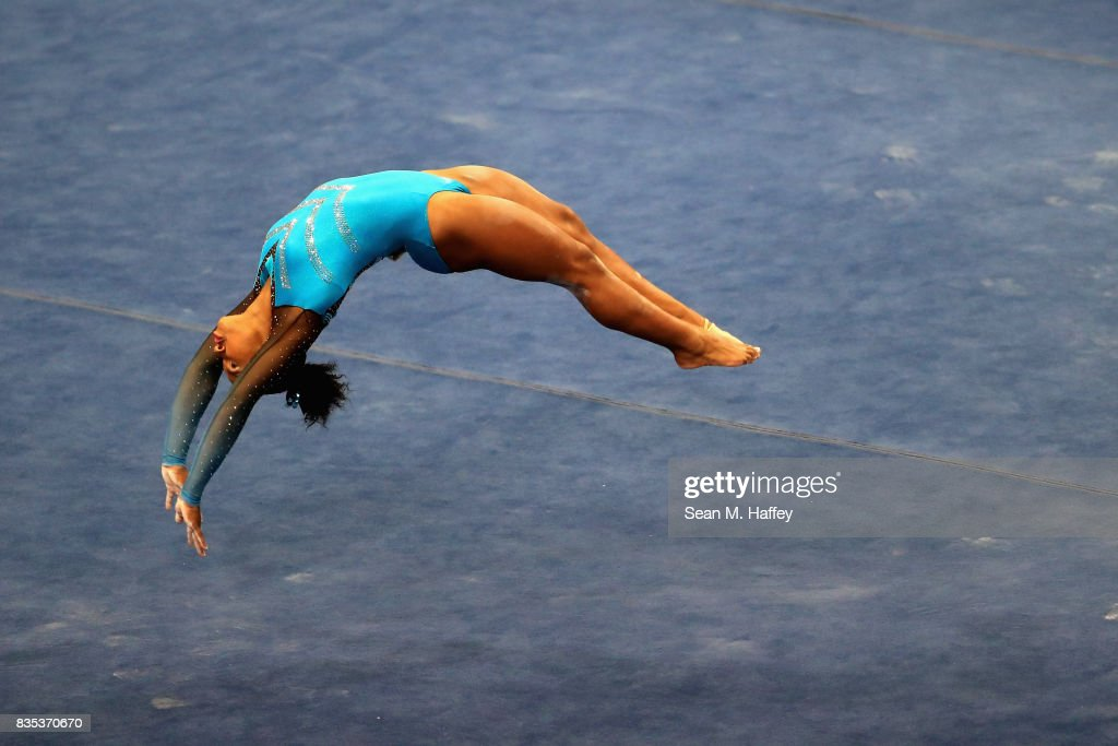 Jordan Chiles competes in the Floor Exercise during the P&G Gymnastics Championships at Honda Center on August 18, 2017 in Anaheim, California.