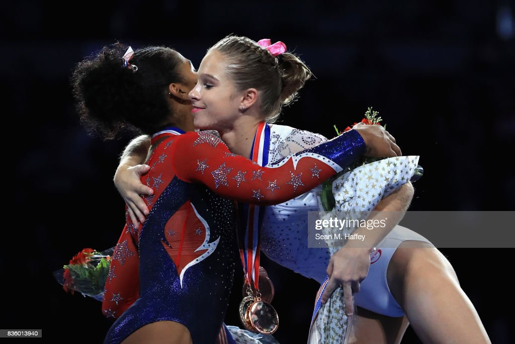 Jordan Chiles congratulates Ragan Smith for winning the Womens's All-Around during the P&G Gymnastics Championships at Honda Center on August 20, 2017 in Anaheim, California.