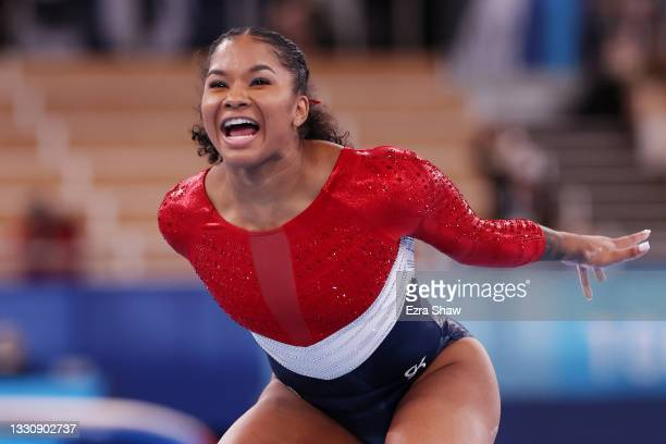 Jordan Chiles of Team United States reacts after competing in balance beam during the Women's Team Final on day four of the Tokyo 2020 Olympic Games...