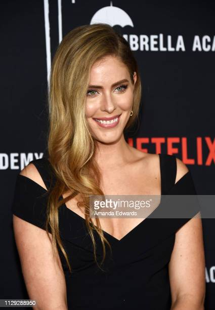Jordan Claire Robbins arrives at the premiere of Netflix's The Umbrella Academy at the ArcLight Hollywood on February 12 2019 in Hollywood California