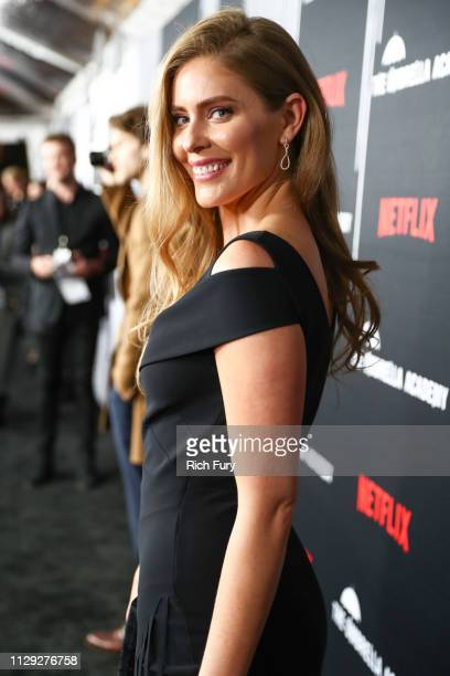 Jordan Claire Robbins attends the premiere of Netflix's The Umbrella Academy at ArcLight Hollywood on February 12 2019 in Hollywood California