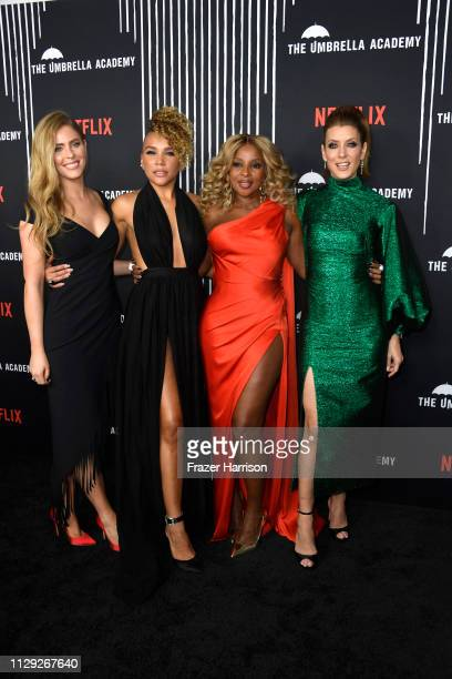 Jordan Claire Robbins Emmy RaverLampman Mary J Blige and Kate Walsh attend the premiere of Netflix's The Umbrella Academy at ArcLight Hollywood on...