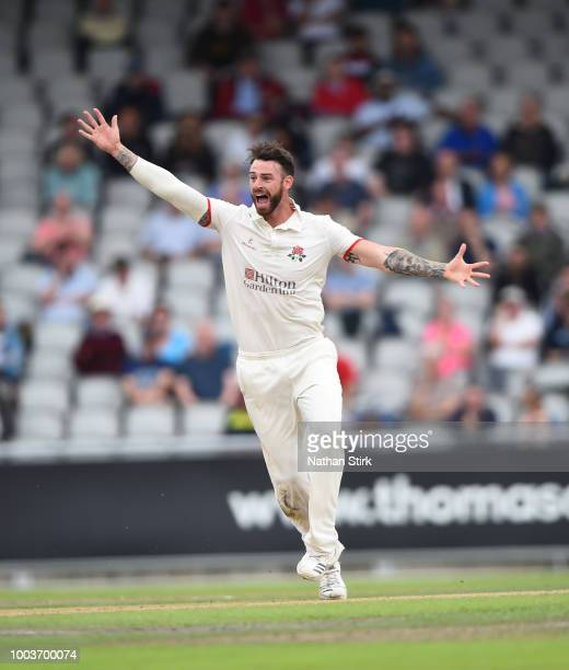 James Anderson of Lancashire runs into bowl during the Specsavers Championship Division One match between Lancashire and Yorkshire at Old Trafford on...