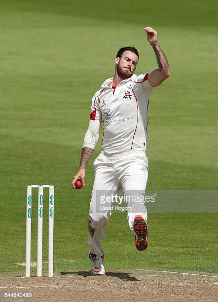 Jordan Clark of Lancashire bowls during the Specsavers County Championship division one match between Nottinghamshire and Lancashire at Trent Bridge...