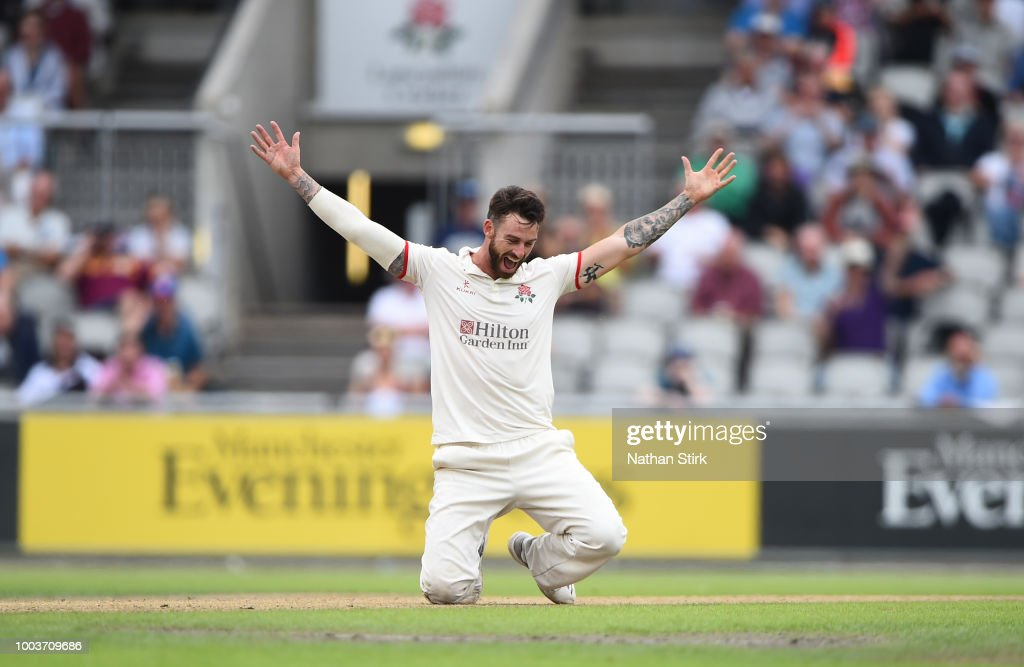 Jordan Clark of Lancashire celebrates as he runs out Tim Bresnan during the Specsavers Championship Division One match between Lancashire and Yorkshire at Old Trafford on July 22, 2018 in Manchester, England.