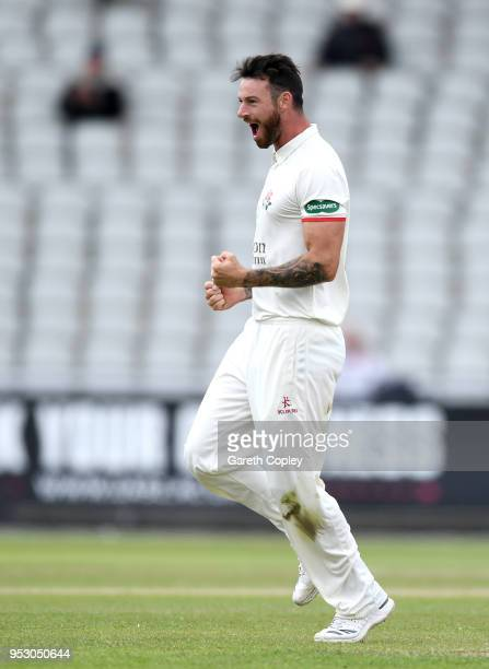Jordan Clark of Lancashire celebrates dismissing Dean Elgar of Surrey during day four of the Specsavers County Championship Division One match...