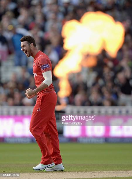 Jordan Clark of Lancashire celebrates taking the final wicket of Chris Wood of Hampshire to win the Semi Final Natwest T20 Blast match between...