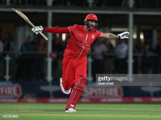 Jordan Clark of Lancashire Lightning celebrates after scoring the winning runs at the end of the Vitality Blast QuarterFinal match between Kent...