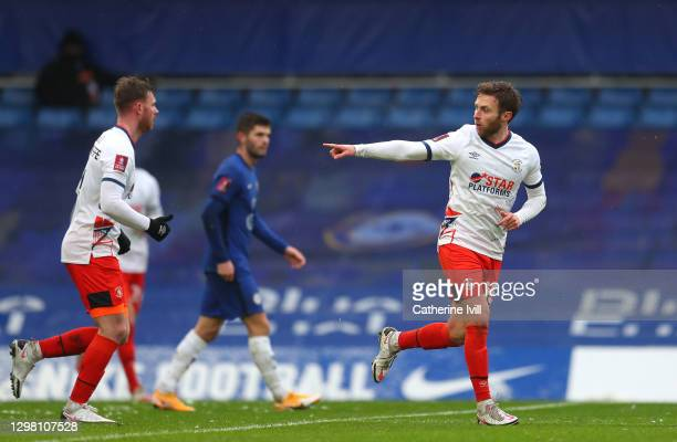 Jordan Clark of Luton Town celebrates after scoring their sides first goal during The Emirates FA Cup Fourth Round match between Chelsea and Luton...