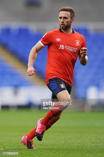 Jordan Clark of Luton Town runs off the ball during the Carabao Cup Second Round match between Reading and Luton Town at Madejski Stadium on...