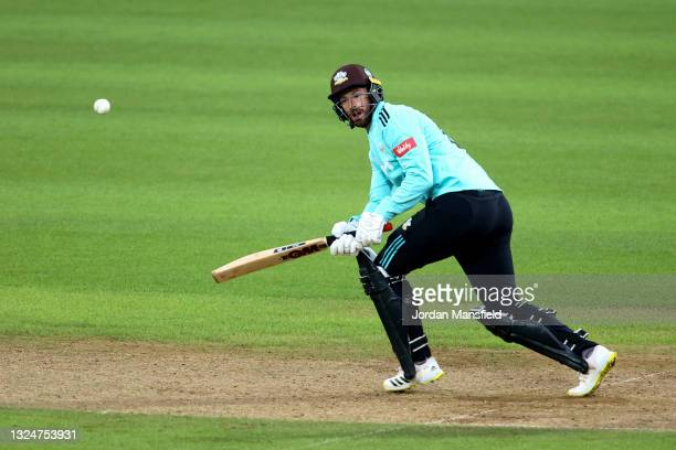 Jordan Clark of Surrey bats during the Vitality T20 Blast match between Surrey and Essex Eagles at The Kia Oval on June 21, 2021 in London, England.