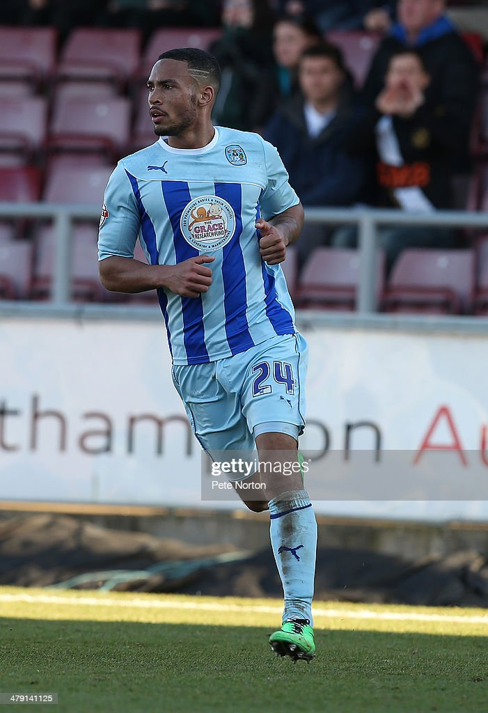 Jordan Clarke of Coventry City in action during the Sky Bet League One match between Coventry City and Port Vale at Sixfields Stadium on March 16, 2014 in Northampton, England.