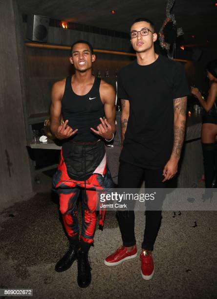 Jordan Clarkson and Kyle Kuzma attend Darren Dzienciol and Alessandra Ambrosio's Halloween Bash on October 31 2017 in Los Angeles California
