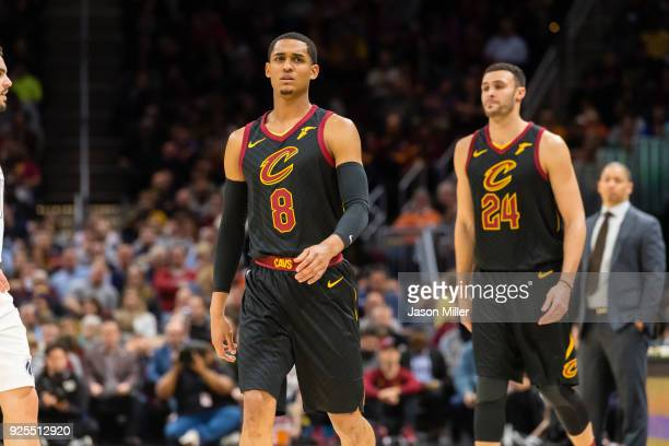 Jordan Clarkson and Larry Nance Jr #24 of the Cleveland Cavaliers enter the game for the first time on their new home court at Quicken Loans Arena...
