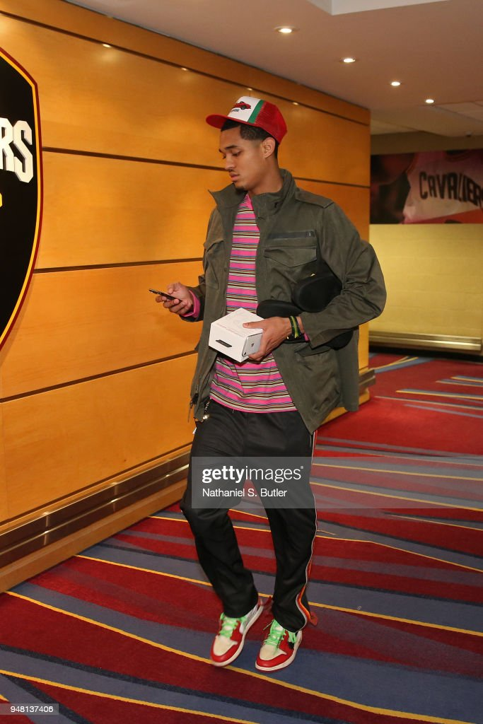 Jordan Clarkson #8 of the Cleveland Cavaliers arrives at the arena before Game One of Round One of the 2018 NBA Playoffs against the Indiana Pacers on April 15, 2018 at Quicken Loans Arena in Cleveland, Ohio.
