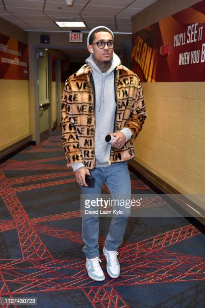 Jordan Clarkson of the Cleveland Cavaliers arrives before the game against the Portland Trail Blazers on February 25 2019 at Quicken Loans Arena in...