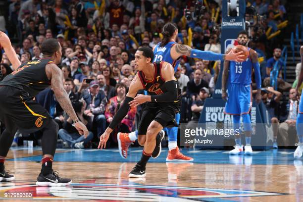 Jordan Clarkson of the Cleveland Cavaliers celebrates during the game against the Oklahoma City Thunder on February 13 2018 at Chesapeake Energy...