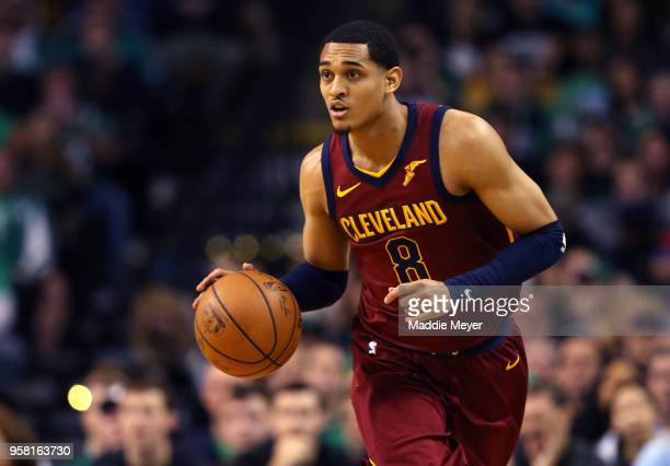 Jordan Clarkson of the Cleveland Cavaliers controls ball against the Boston Celtics during the second quarter in Game One of the Eastern Conference...