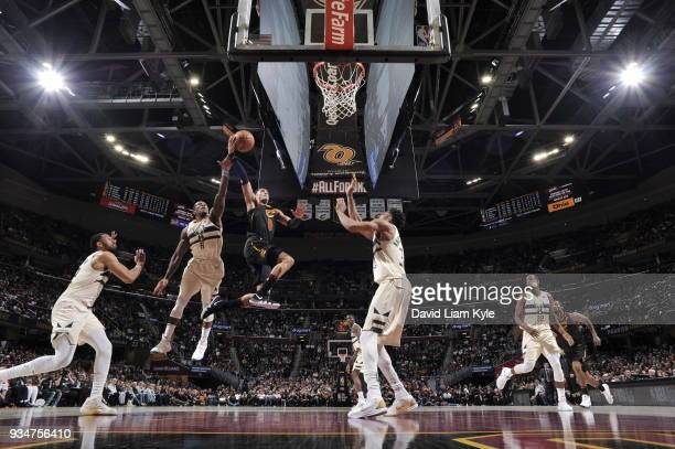 Jordan Clarkson of the Cleveland Cavaliers drives to the basket against the Milwaukee Bucks on March 19 2018 at Quicken Loans Arena in Cleveland Ohio...