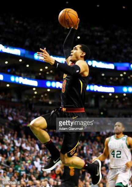 Jordan Clarkson of the Cleveland Cavaliers dunks the ball during a game against the Boston Celtics at TD Garden on February 11 2018 in Boston...
