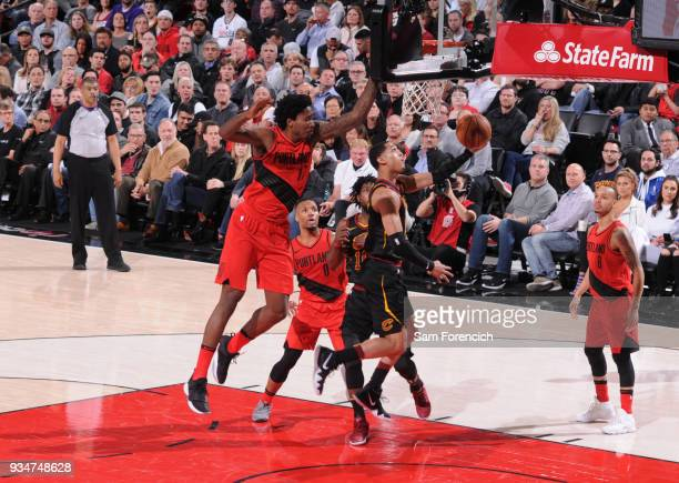 Jordan Clarkson of the Cleveland Cavaliers goes for a lay up against the Portland Trail Blazers on March 15 2018 at the Moda Center Arena in Portland...