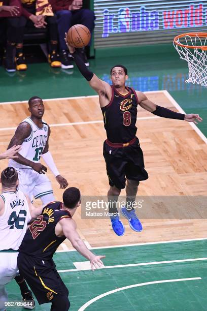 Jordan Clarkson of the Cleveland Cavaliers grabs a rebound against Terry Rozier of the Boston Celtics during Game Five of the 2018 NBA Eastern...