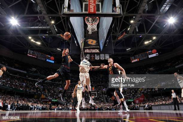 Jordan Clarkson of the Cleveland Cavaliers handles the ball against the Milwaukee Bucks on March 19 2018 at Quicken Loans Arena in Cleveland Ohio...