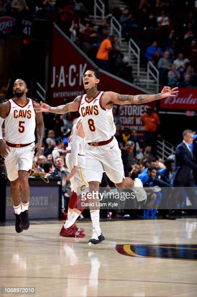 Jordan Clarkson of the Cleveland Cavaliers reacts against the Oklahoma City Thunder on November 7 2018 at Quicken Loans Arena in Cleveland Ohio NOTE...